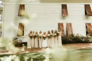 Bridal party in pink at The Wheeler House