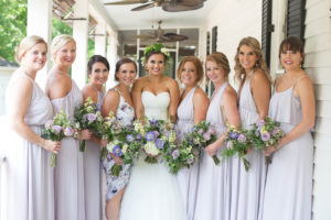 Bridesmaids in purple at The Wheeler House