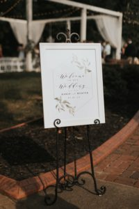 Wedding Welcome Sign at The Wheeler House